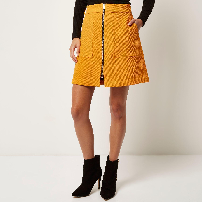 River island Orange Zip-up A-line Skirt in Orange | Lyst