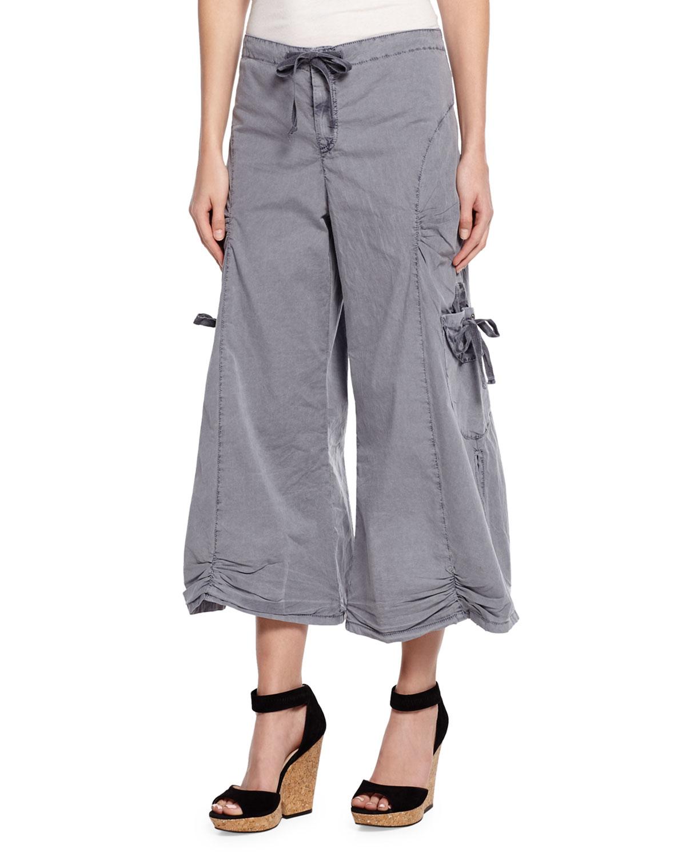 Xcvi Cropped Poplin Cargo Gaucho Pants in Gray | Lyst