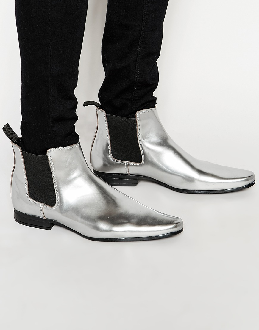 asos chelsea boots in metallic silver in metallic lyst. Black Bedroom Furniture Sets. Home Design Ideas