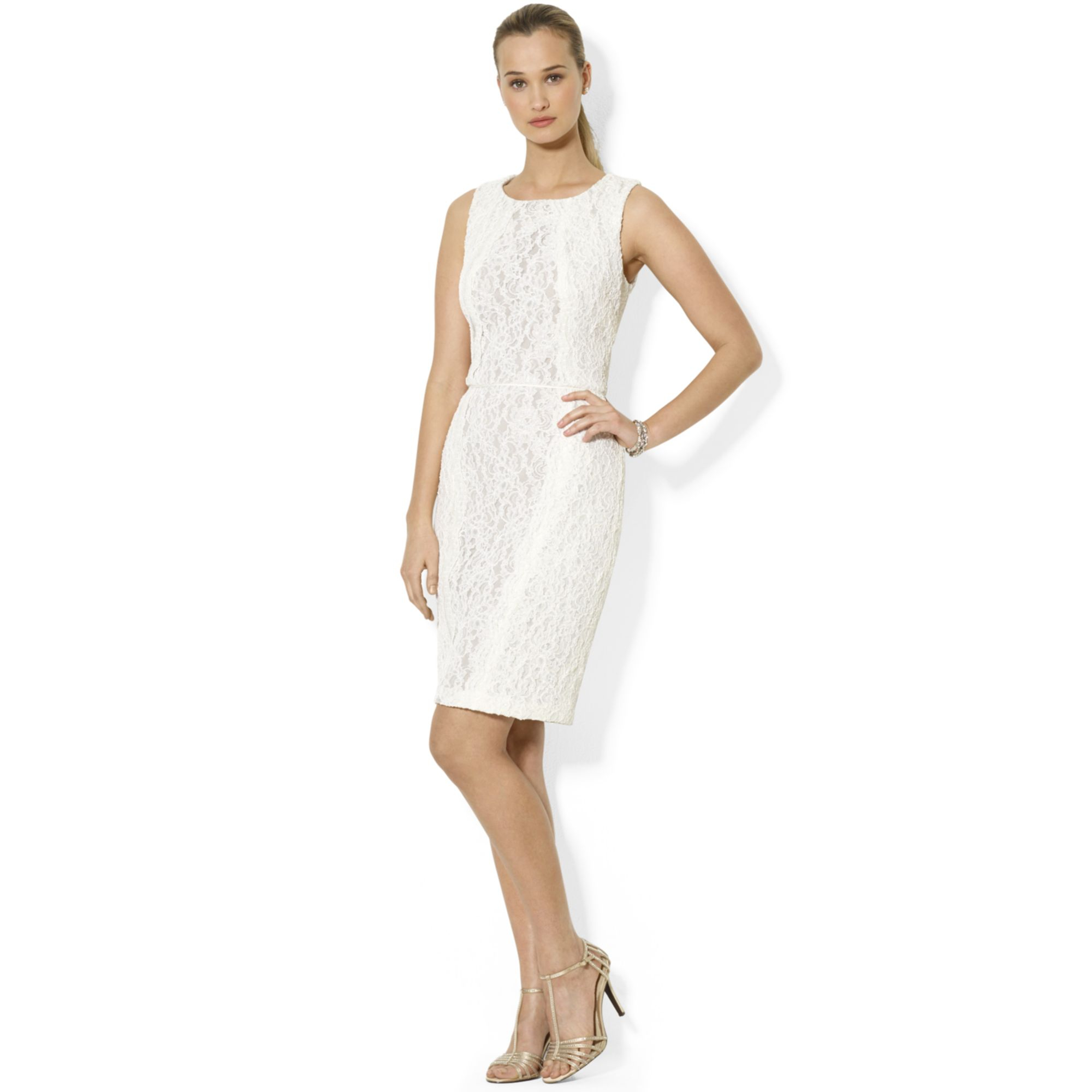 Lyst - Lauren By Ralph Lauren Sleeveless Lace Dress in White
