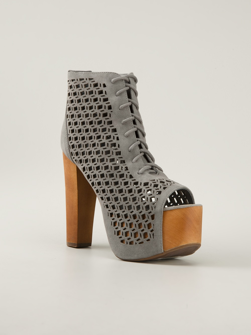 jeffrey campbell cut out ankle boot in gray grey lyst. Black Bedroom Furniture Sets. Home Design Ideas