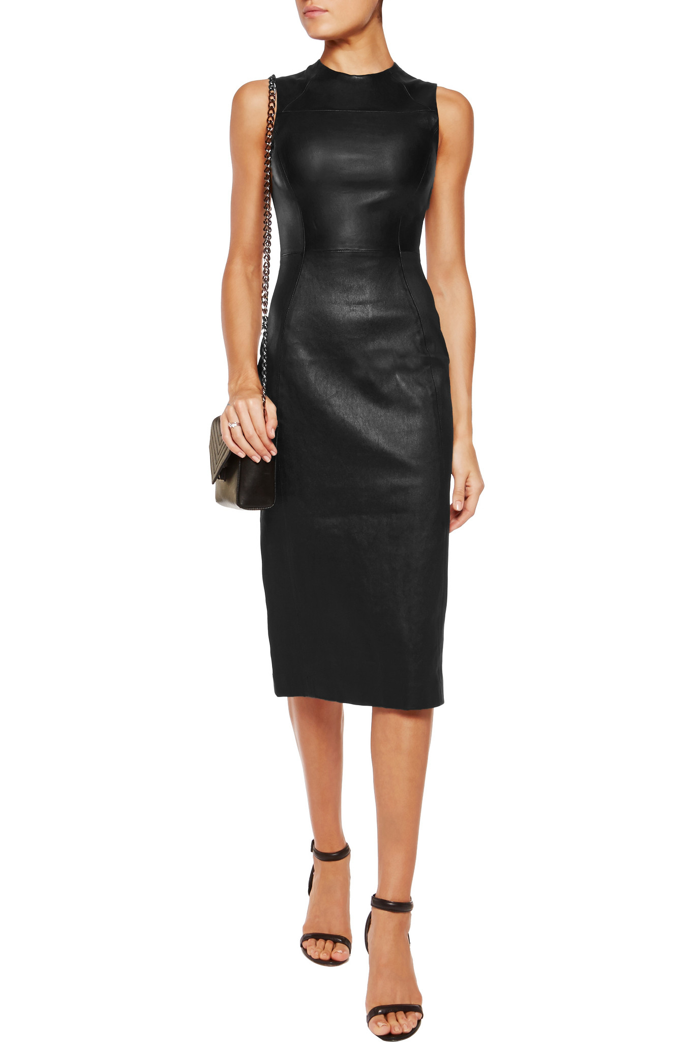 Clearance Online Official Site Choice Cheap Online Iris & Ink Woman Carrie Stretch-leather Dress Taupe Size 4 IRIS & INK SDqqveXWa5