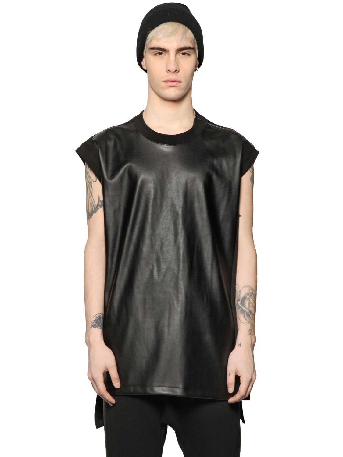 Lyst D By D Sleeveless Faux Leather Amp Jersey T Shirt In