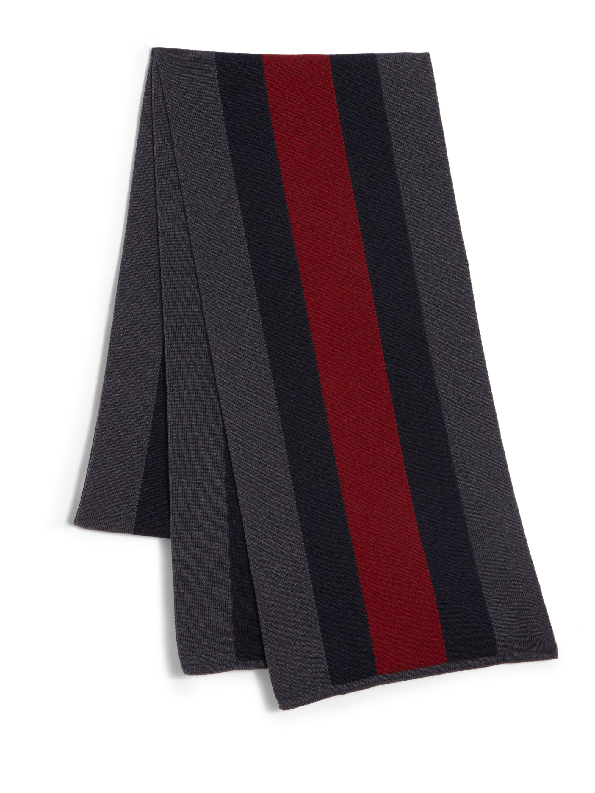 gucci signature web knit scarf in blue for lyst