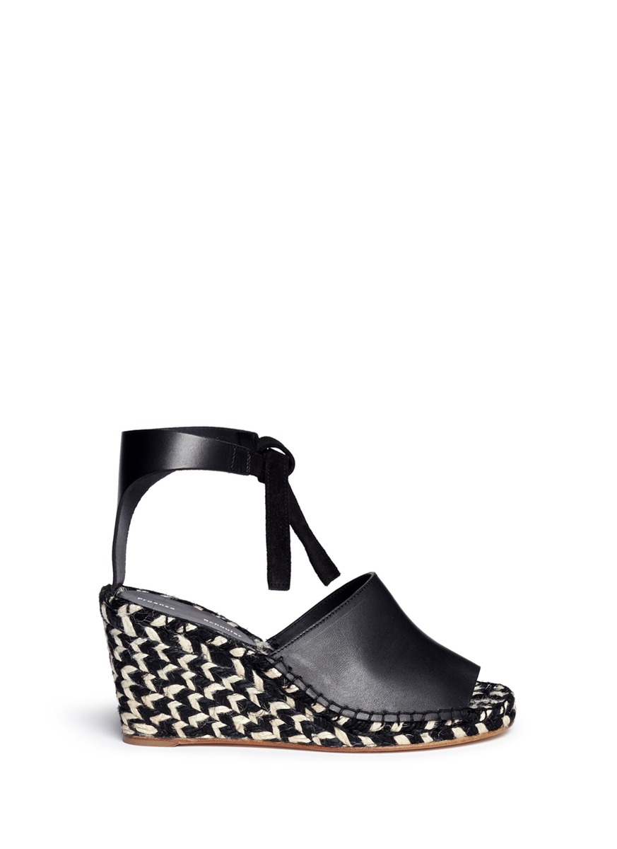 49810631fc4 Lyst - Proenza Schouler Leather Espadrille Wedge Sandals in Black