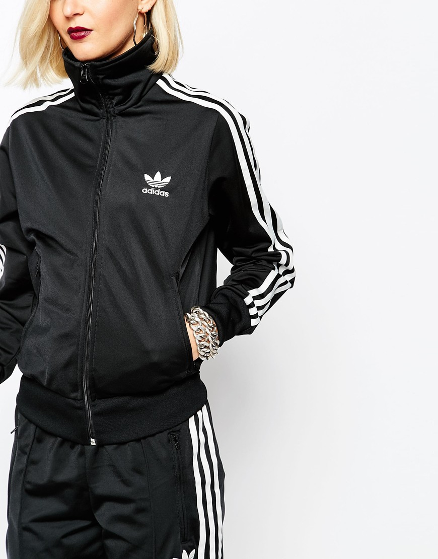 b5f0d200a766 Lyst - adidas Originals 3 Stripe Zip Front Track Jacket in Black