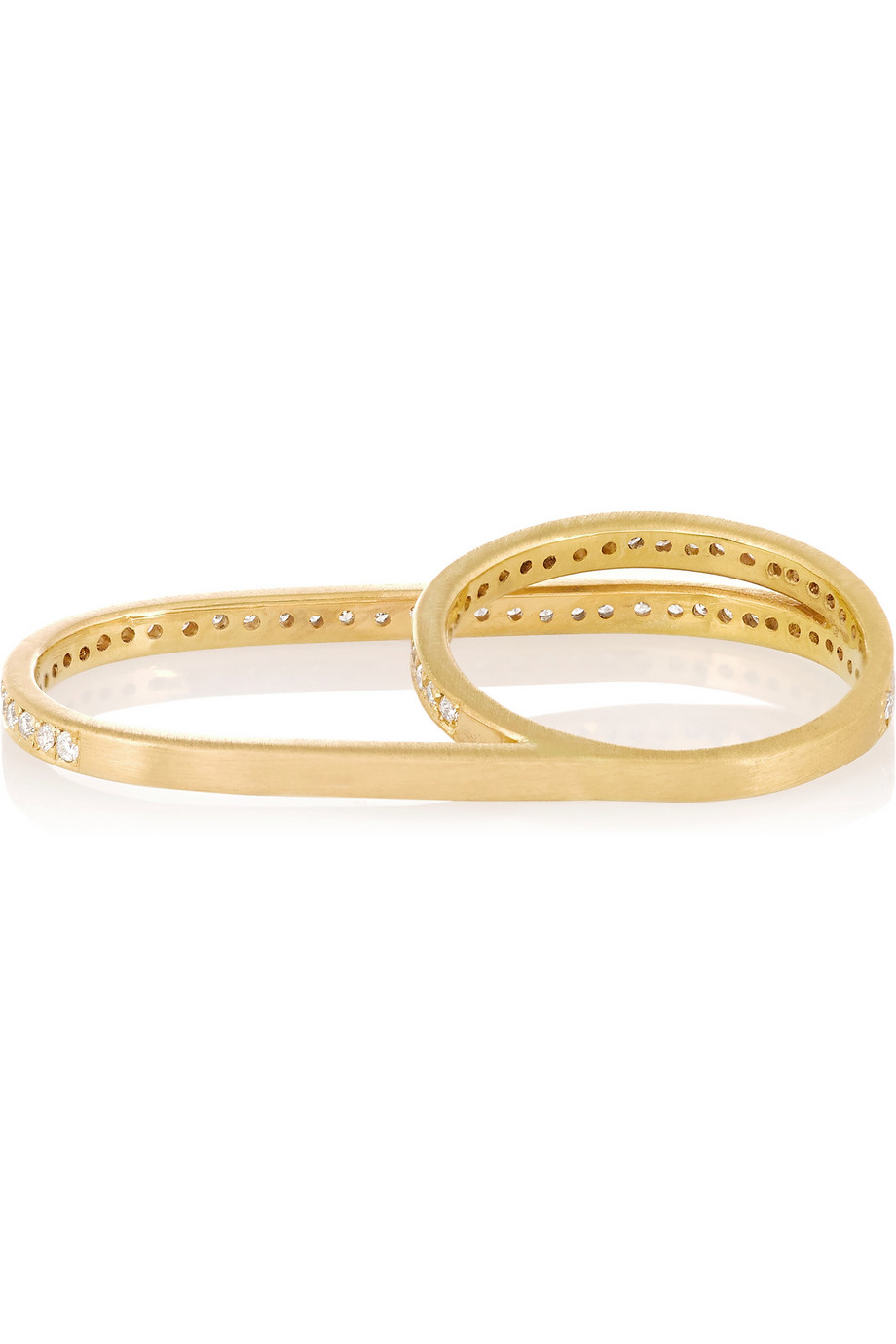 halleh 18 karat gold two finger ring in metallic