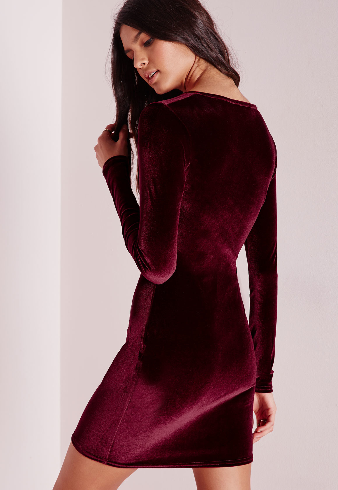 af97de2e37 Lyst - Missguided Tall Velvet Bodycon Dress Oxblood Red