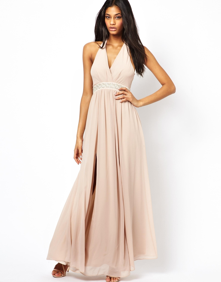 asos maxi dress with embellished waist in beige nude lyst. Black Bedroom Furniture Sets. Home Design Ideas