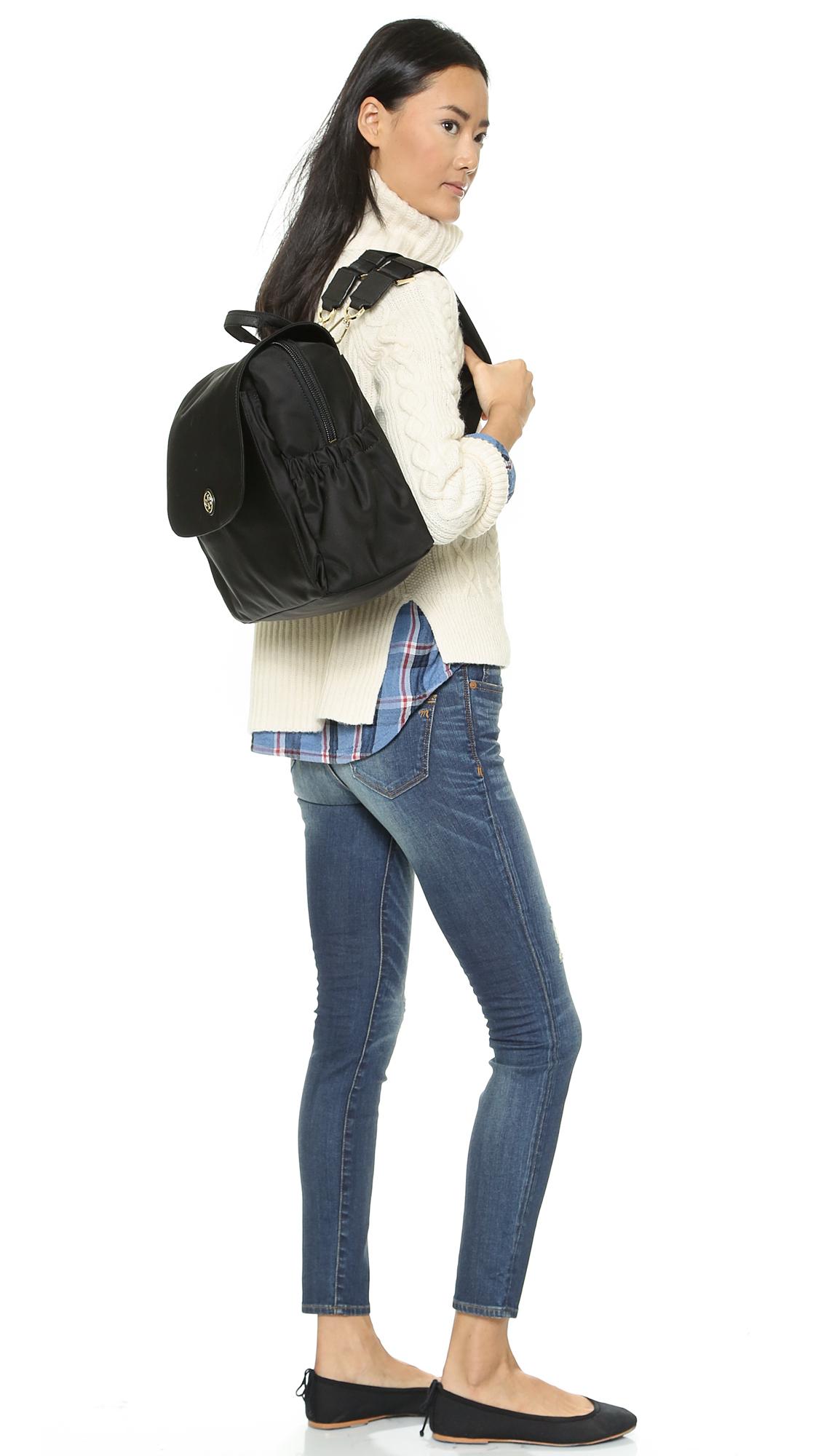 Tory burch Travel Nylon Baby Backpack Black in Black
