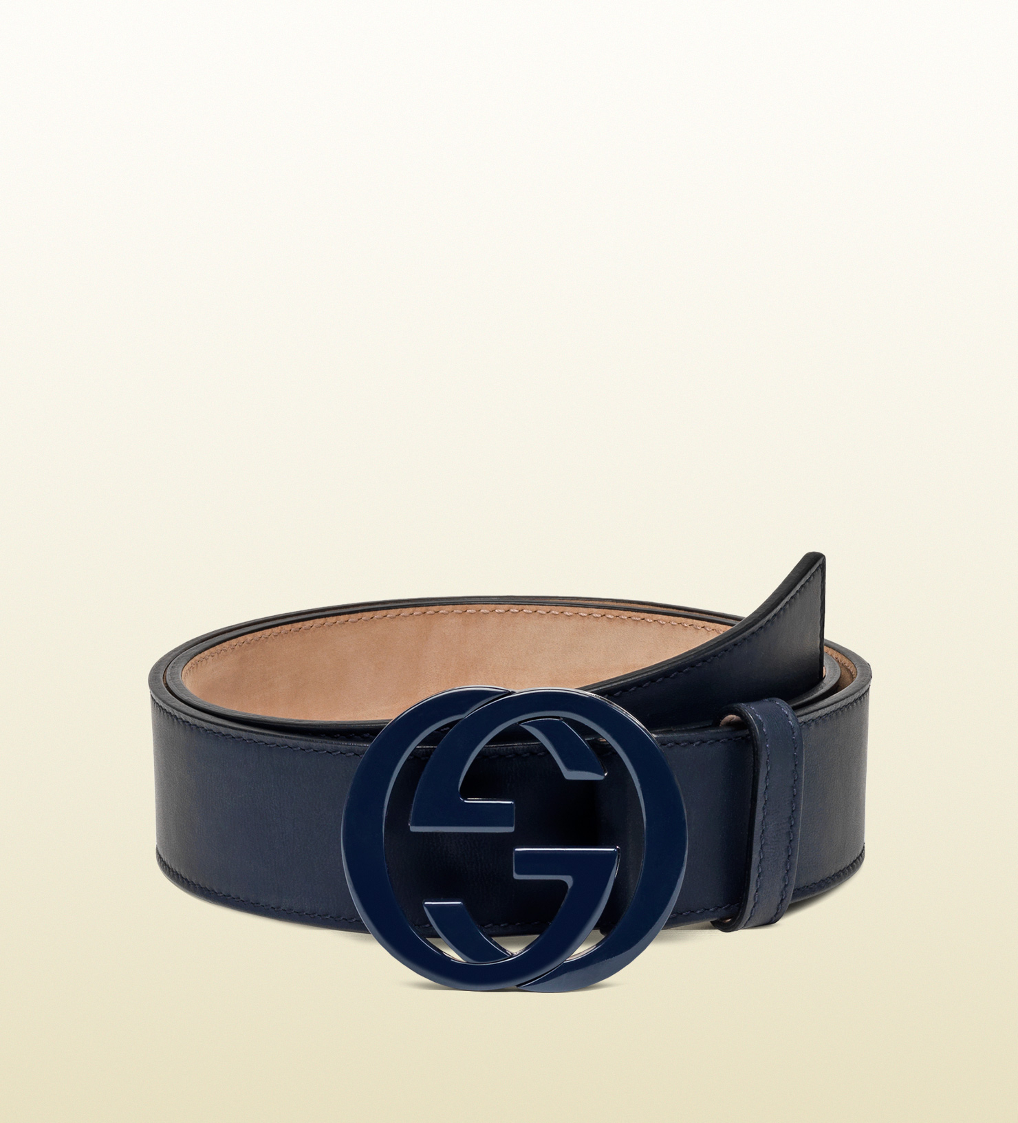 Gucci Leather Belt With Interlocking G Buckle In Blue For
