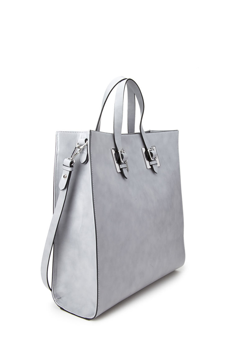 forever 21 handbags lyst forever 21 structured tote bag in gray 30621