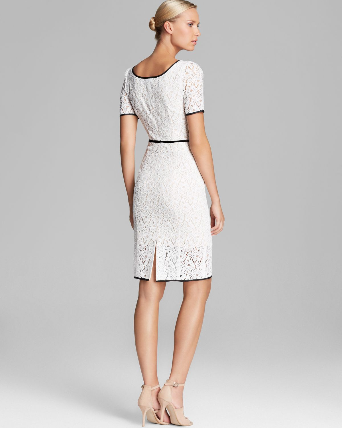 short white lace sheath dress