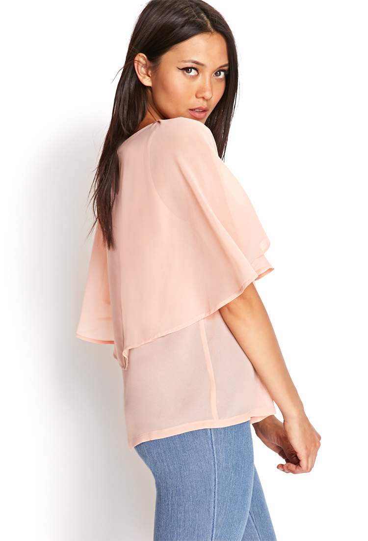Lyst Forever 21 Cape Sleeve Woven Top In Orange