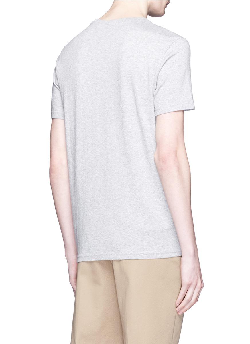 Paul smith 39 badge 39 print organic cotton t shirt in gray for Organic cotton t shirt printing