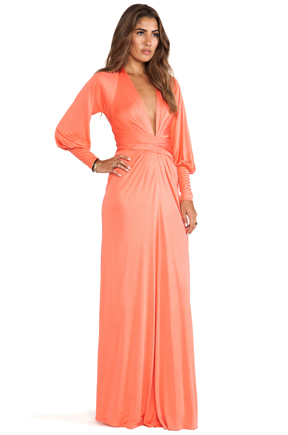 Issa Long Sleeve Wrap Maxi Dress In Red | Lyst