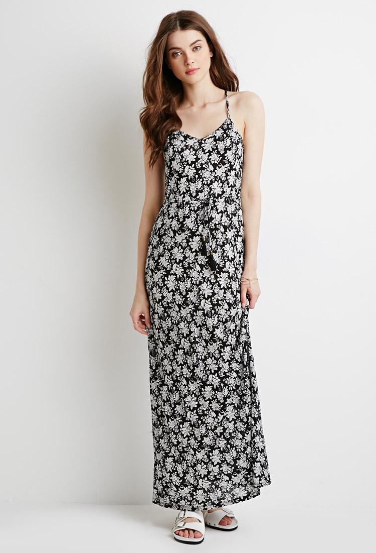Lyst - Forever 21 Rose Print Drawstring Maxi Dress in Black
