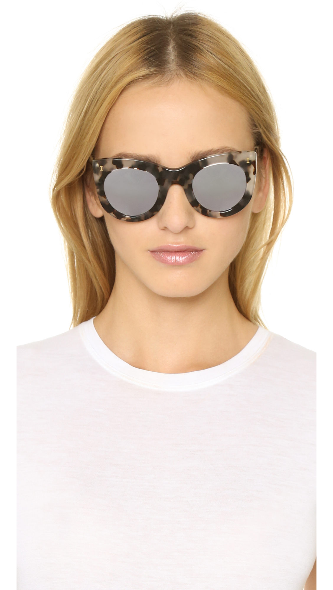 Illesteva Boca Mirrored Sunglasses White Tortoise Silver
