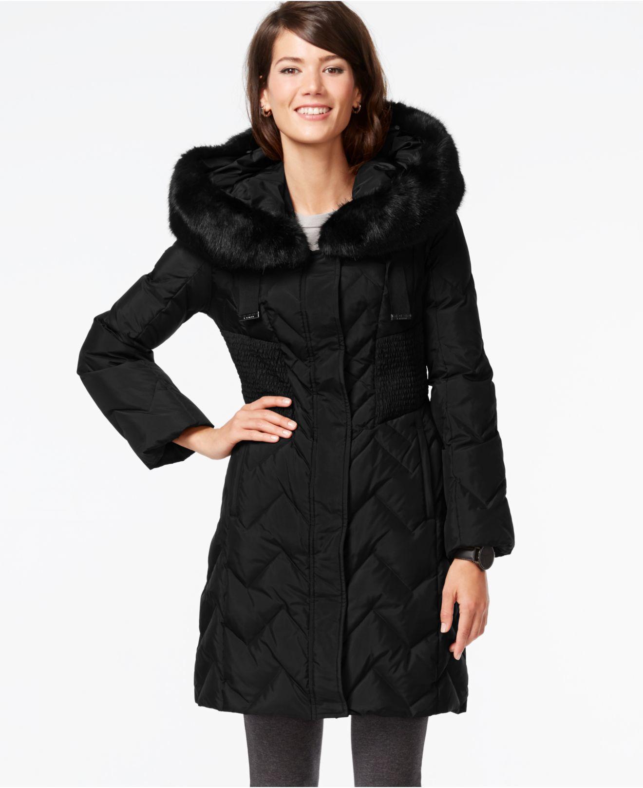 Lyst Tahari Faux Fur Trim Hooded Down Coat In Black