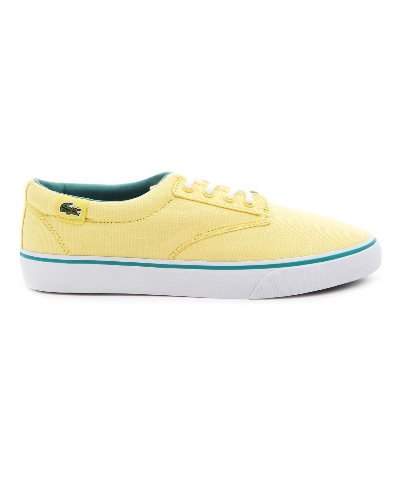 lacoste l ive barbados gp yellow canvas sneakers in yellow