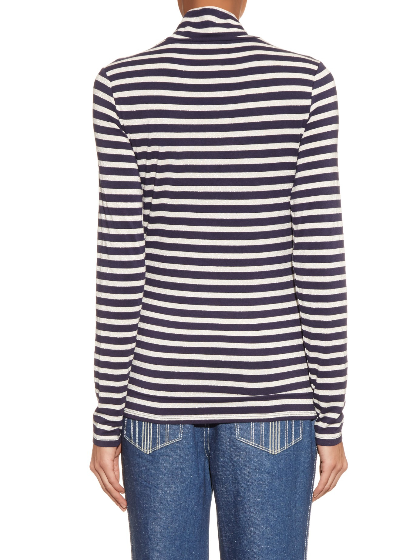 Lyst Trademark Striped Roll Neck Long Sleeved Sweater In