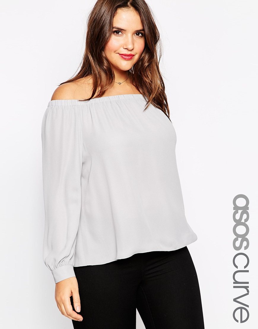 5ddb5eceaa4a68 Lyst - Asos Off The Shoulder Top In Crepe in Gray