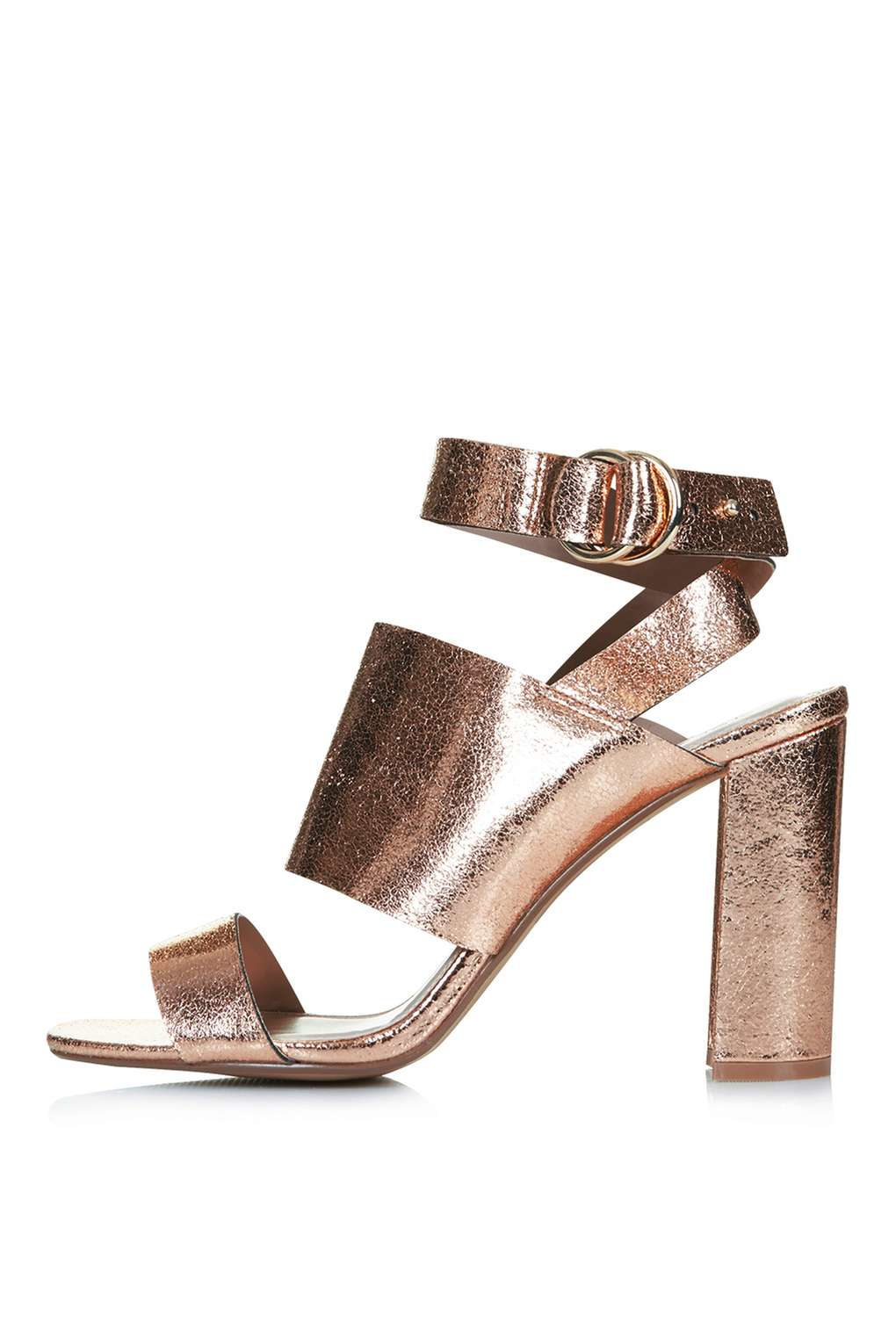 Topshop Monica Block Heel Sandals in Metallic | Lyst