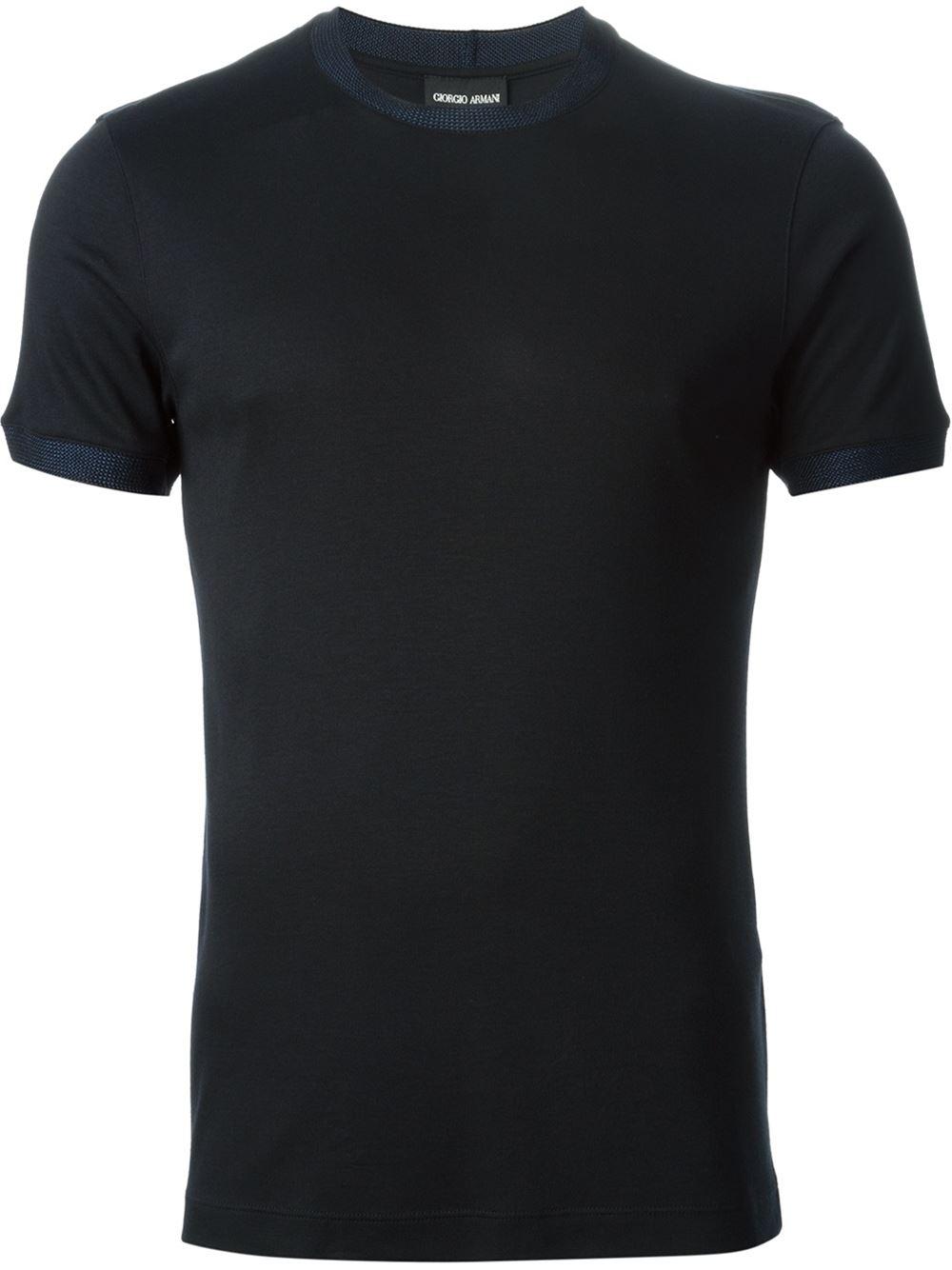 Giorgio Armani Contrast Collar T Shirt In Black For Men Lyst