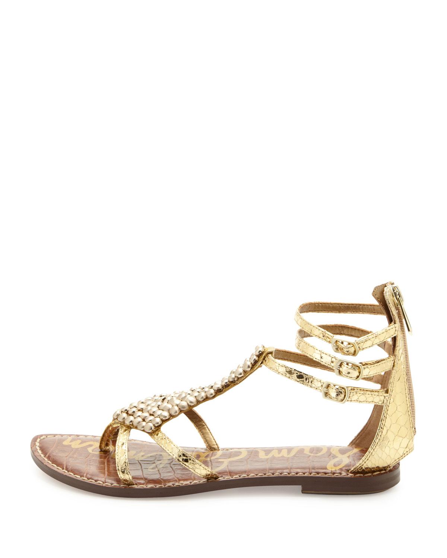 aa0f059fcd41e Lyst - Sam Edelman Ginger Beaded Metallic Gladiator Sandal in Metallic