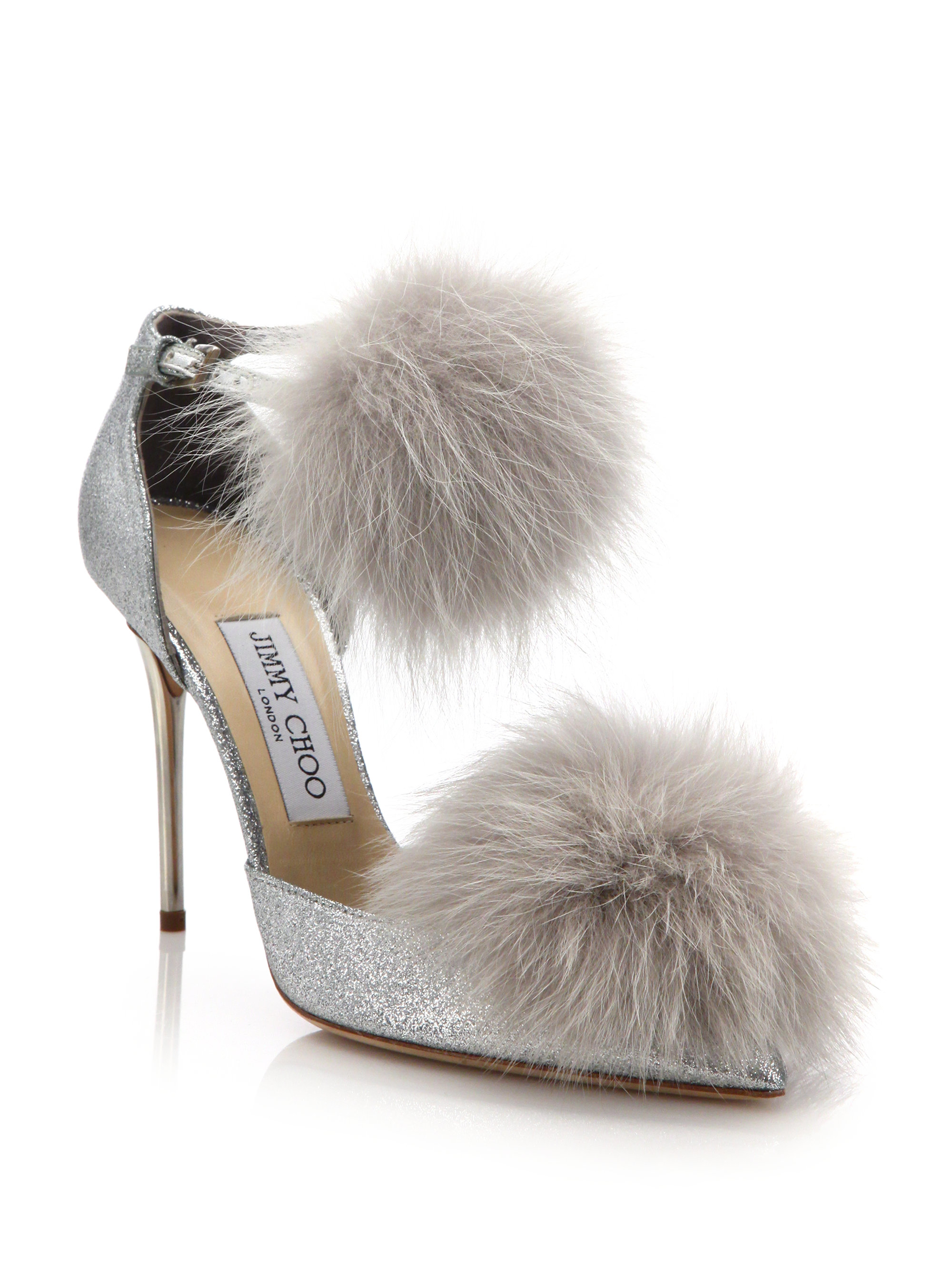 Jimmy Choo Dolly 100 Fox Fur Amp Glittered Textile Ankle