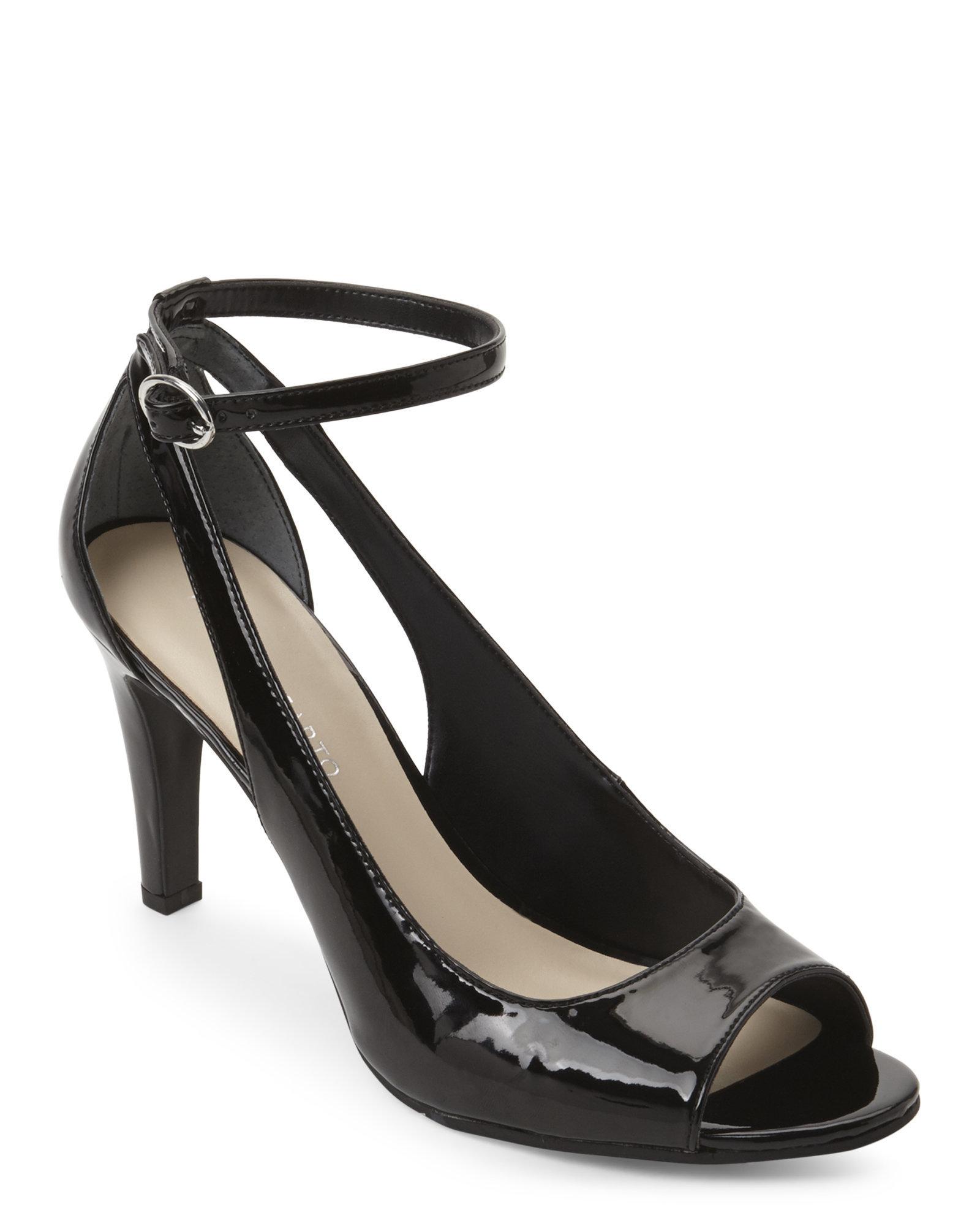 Lyst Franco Sarto Black Emmy Ankle Strap Pumps In Black
