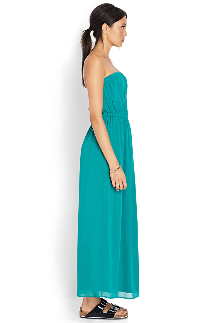 e485d1e858 Lyst - Forever 21 Maxi Chiffon Tube Dress in Green