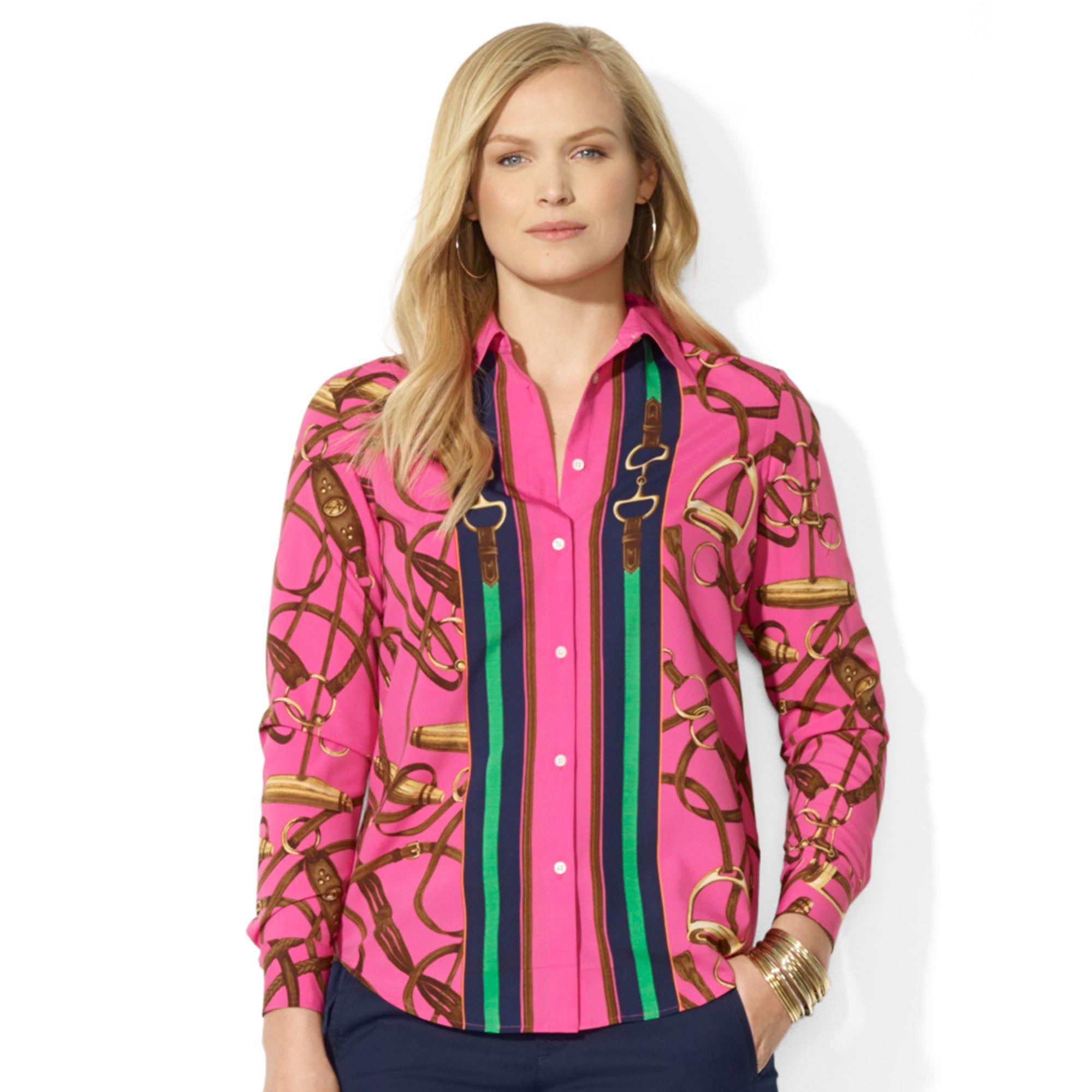 c81e46f9e61 Lyst - Lauren by Ralph Lauren Plus Size Equestrianprint Silk Shirt ...