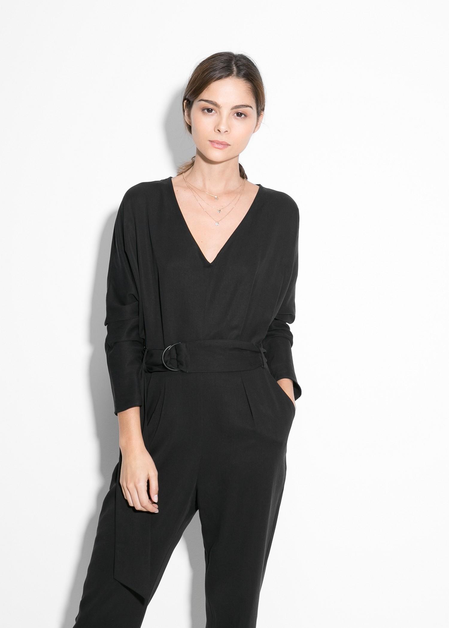 ba9e17c417a2 Lyst - Mango Hoops Tencel Jumpsuit in Black