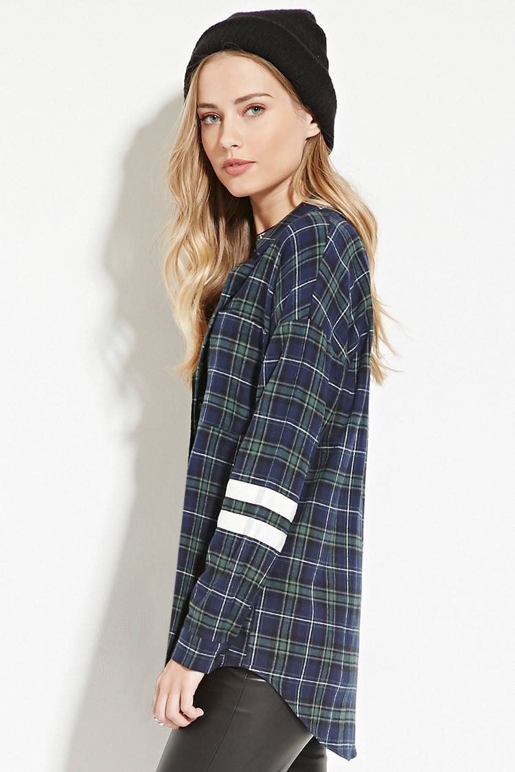 Forever 21 Varsity-striped Flannel Shirt in Blue
