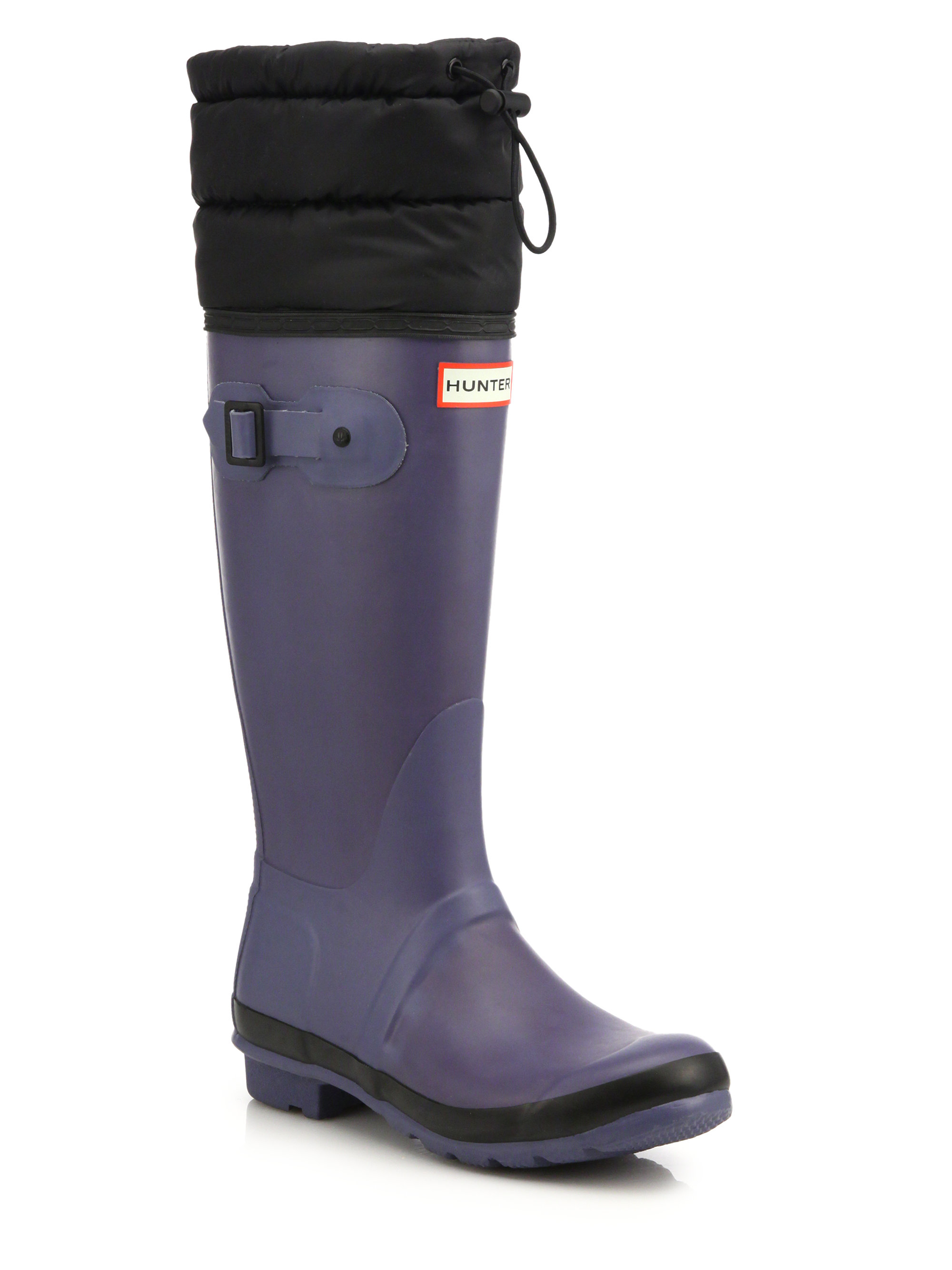 Lyst Hunter Original Quilted Cuff Rubber Rainboots In Blue