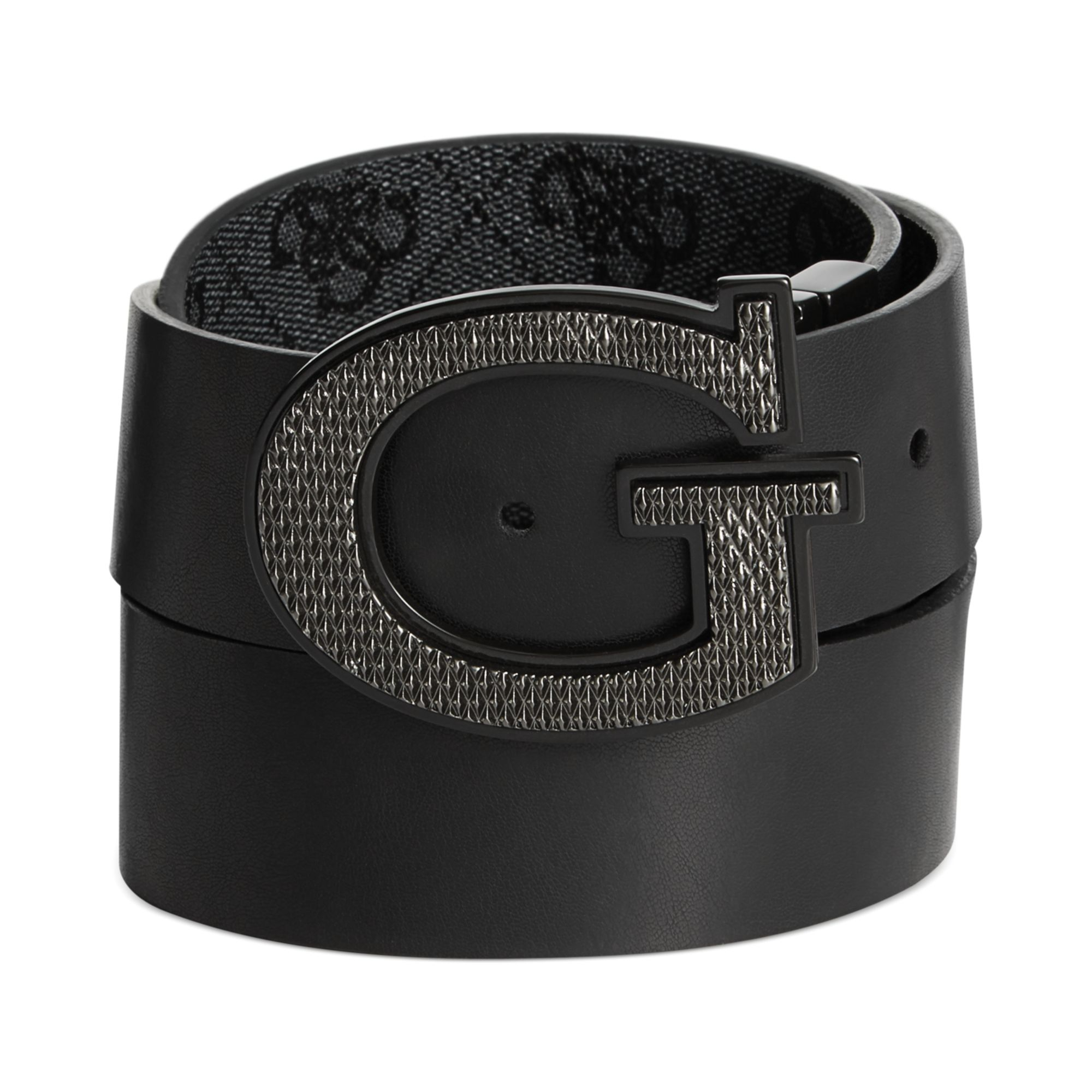 guess 35mm reversible leather logo buckle belt in black