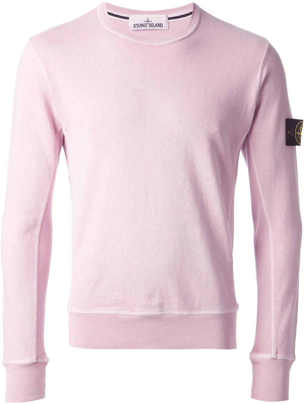 Stone island Logo Patch Sweatshirt in Pink for Men - Lyst