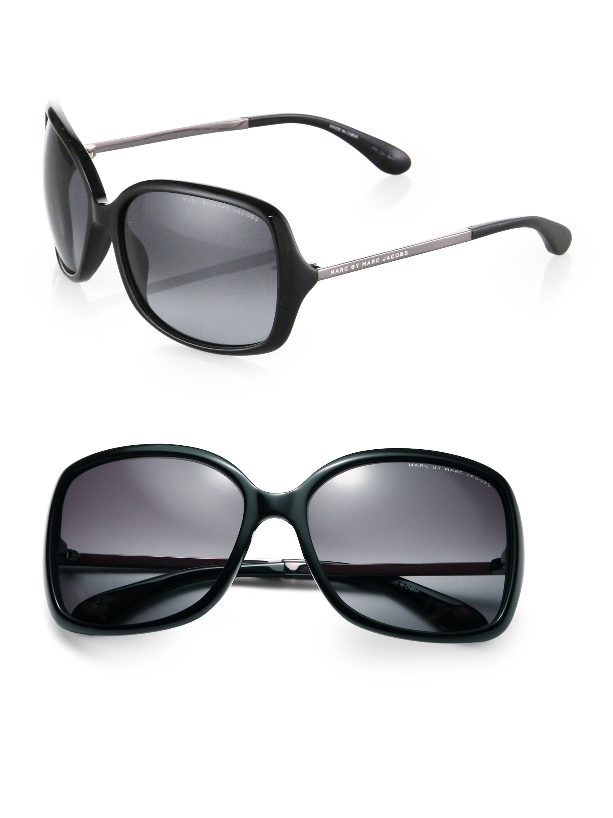 dc0cc8812e66 Marc By Marc Jacobs Oversized Square Plastic Sunglasses in Black - Lyst