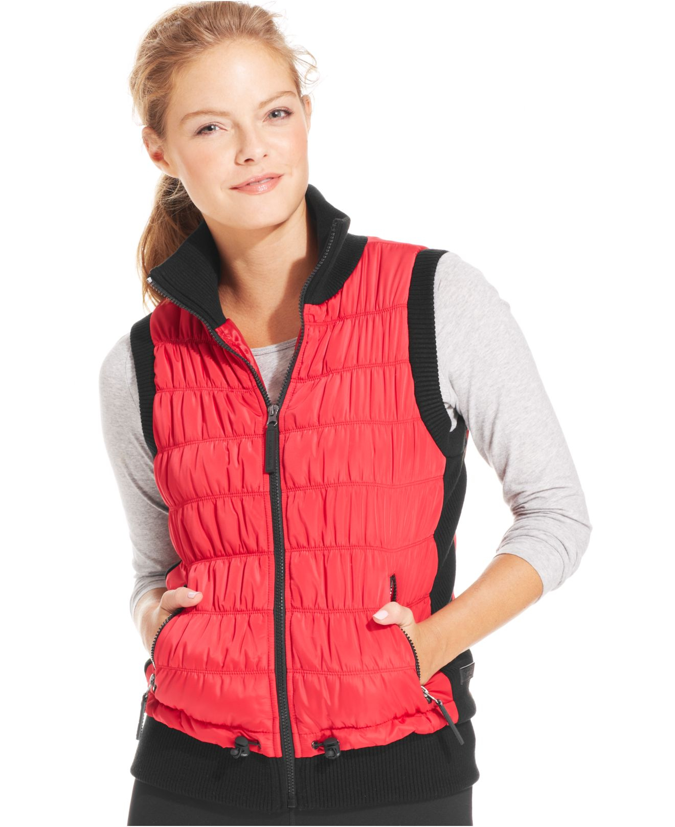 Calvin Klein Performance Ribbed Knit Quilted Puffer Vest