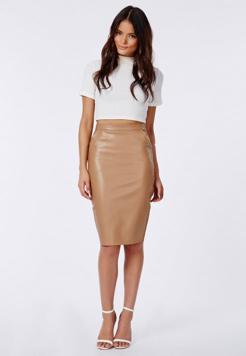 Missguided Mariota Faux Leather Pencil Skirt Camel In Natural