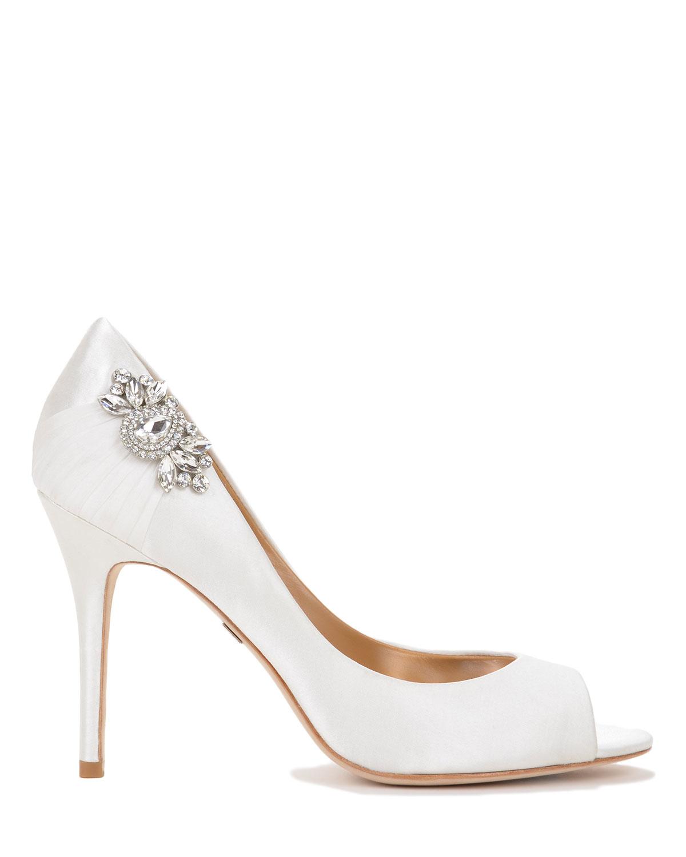 badgley mischka embellished satin evening shoe in