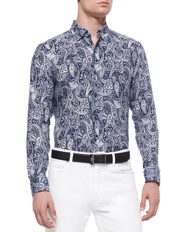 ermenegildo zegna paisley print linen sport shirt in blue for men lyst