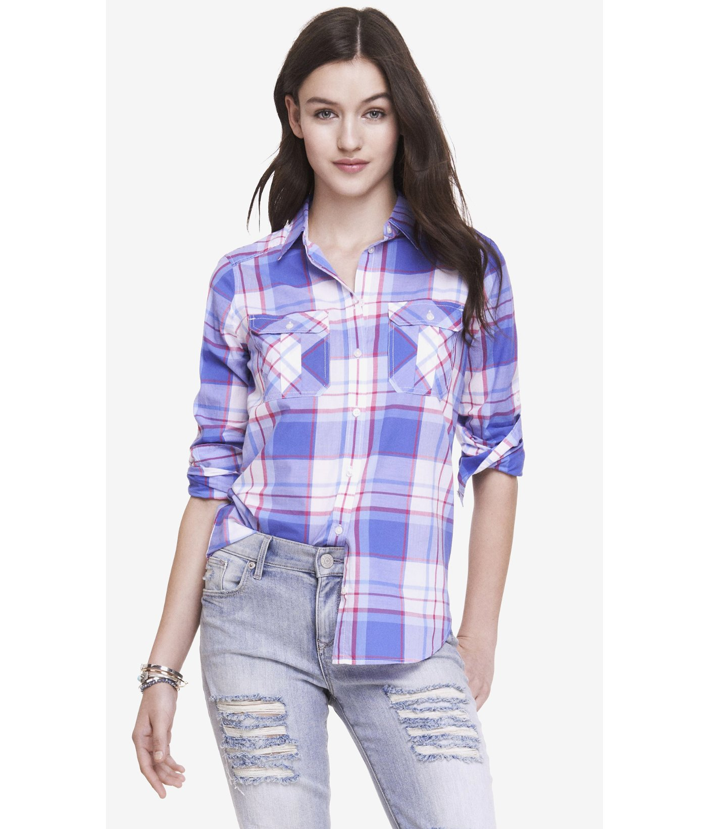 Red Plaid Carolers 18: Express Plaid Original Fit Shirt In Blue