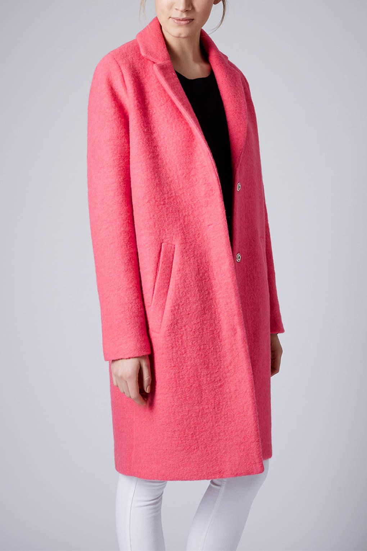 Lyst Topshop Boiled Wool Boyfriend Coat In Pink