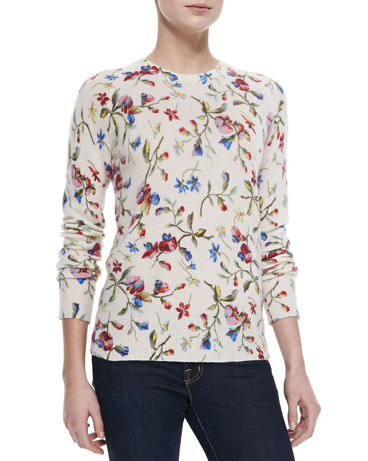Equipment Cashmere Sloane Floral-Print Sweater | Lyst