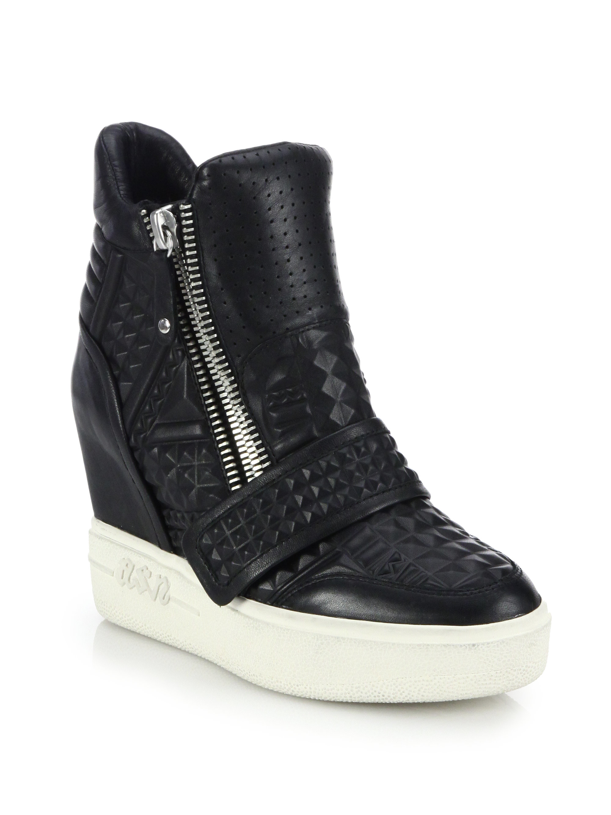Lyst Ash Action Embossed Leather Wedge Sneakers In Black