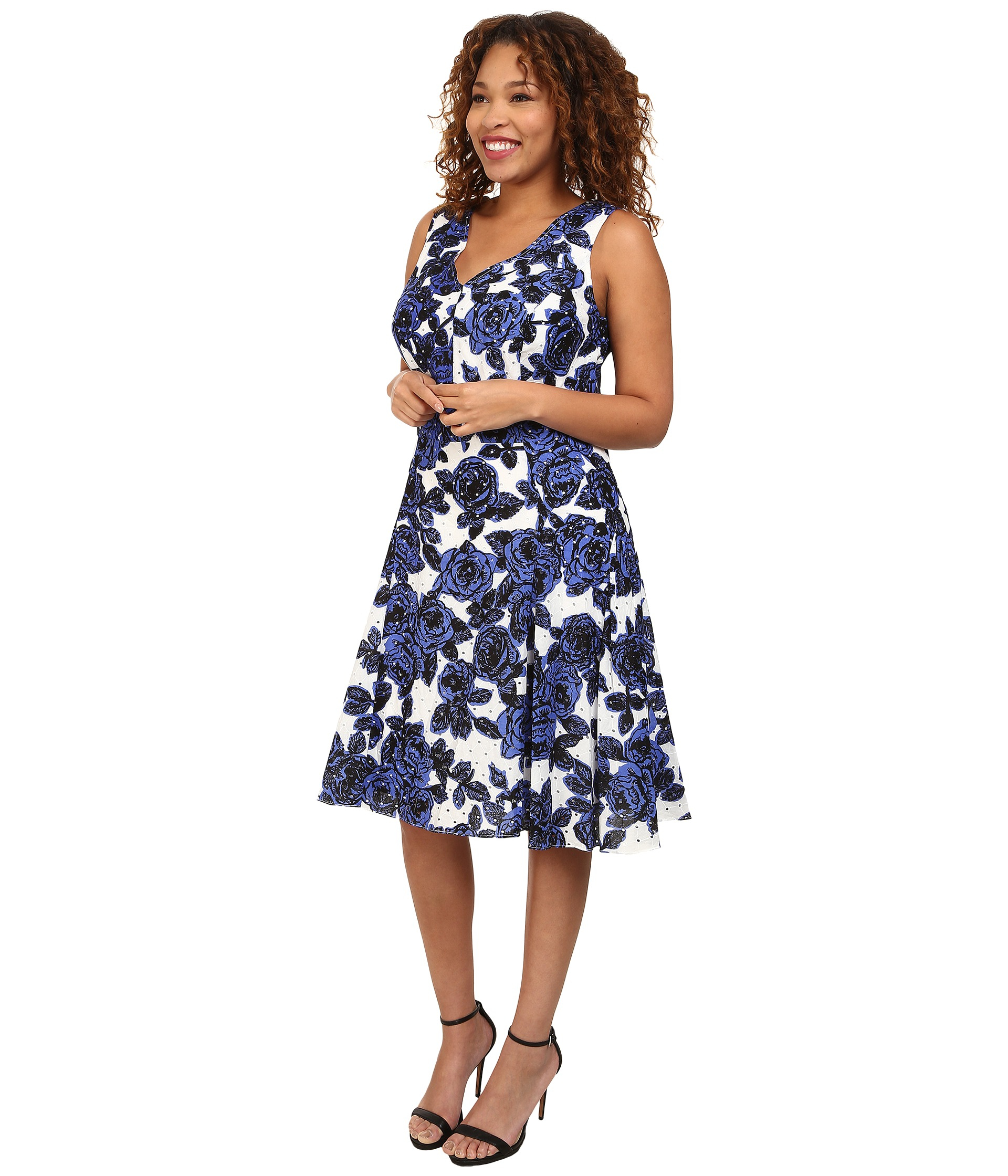 Lyst Adrianna Papell Plus Size Back Interest Fit Flare Dress In Blue