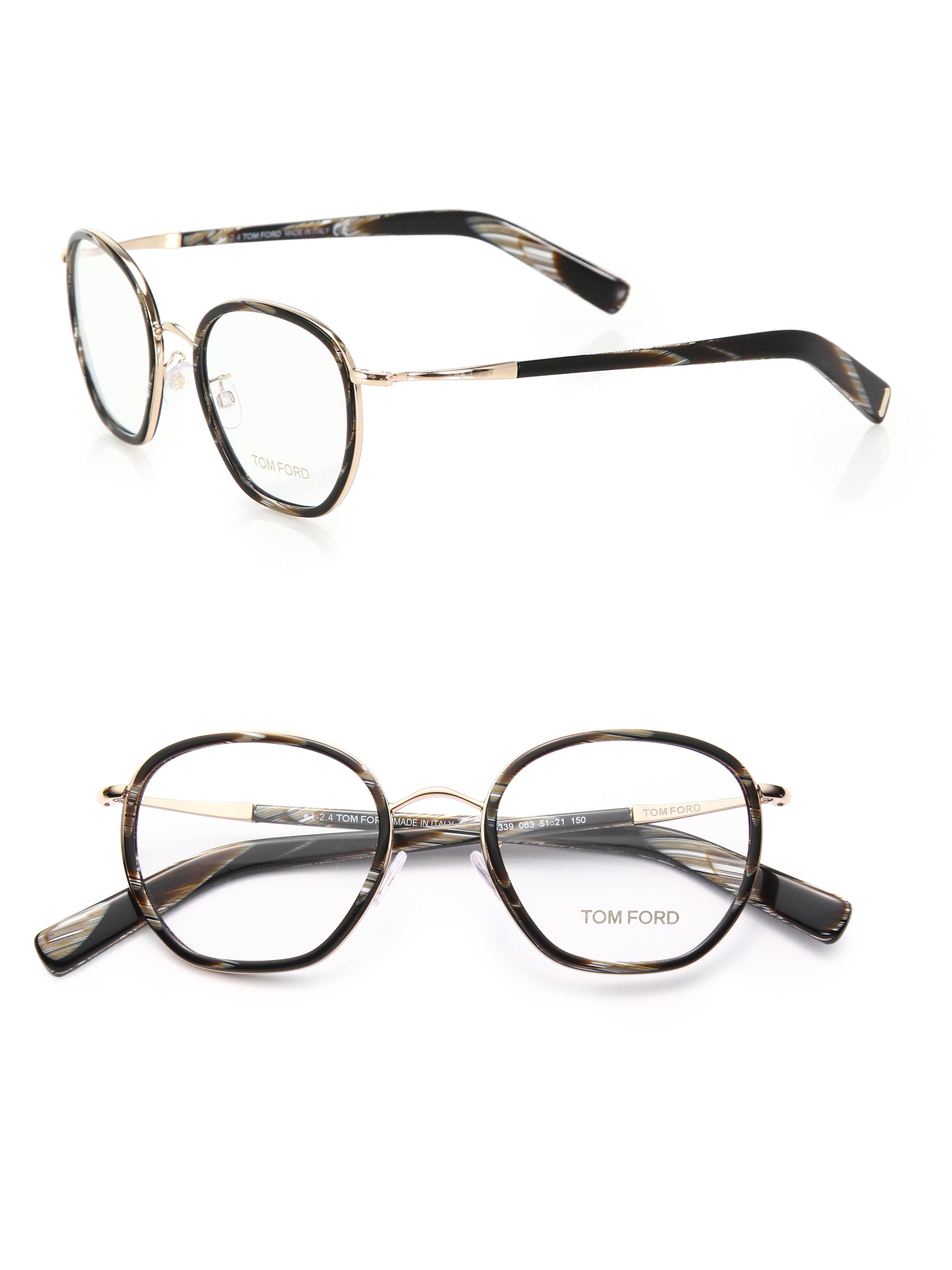 f3c27b86ccc Lyst - Tom Ford 51mm Round Acetate   Metal Optical Glasses in Black