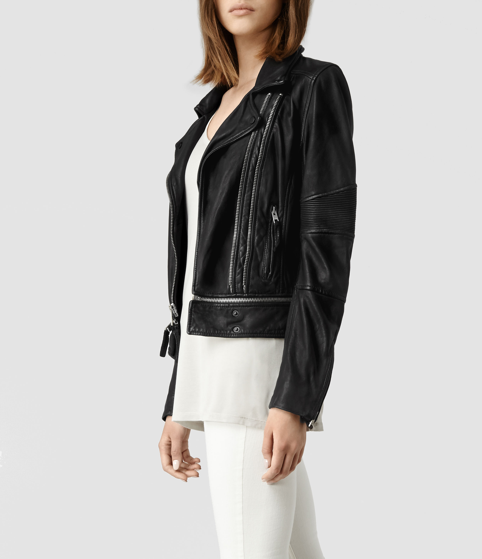 Allsaints Assembly Leather Biker Jacket in Black
